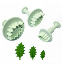 PME Plunger Cutter - Veined Holly Leaf - Set of 3 Small