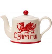 Welsh Cymru Dragon Teapot Moorland Pottery Cymruware