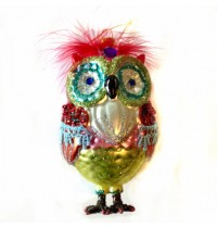Painted Glass Owl Decoration