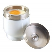 Traditional Porcelain Egg Coddler with Stainless Steel Top