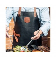 GLOBAL GL-8260 Deluxe Leather Apron -Brown