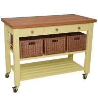 Lambourn Three Drawer Buttercream Kitchen Trolley