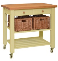 Lambourn Two Drawer Buttercream Kitchen Trolley