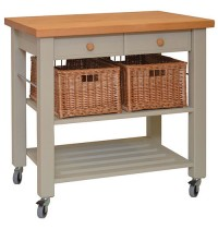 Lambourn Two Drawer French Grey Kitchen Trolley