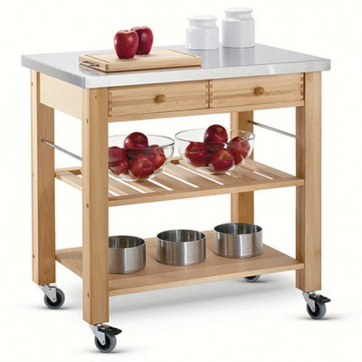 Lambourn Two Drawer - Stainless Steel Top Kitchen Trolley