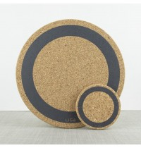 Liga Set of 4 Cork Placemats Earth Grey Ring