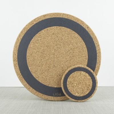Liga Set of 4 Cork Coasters Earth Grey Ring
