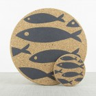 Liga Set of 4 Cork Placemats Grey Fish