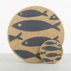 Liga set of 4 Cork Coasters Grey Fish