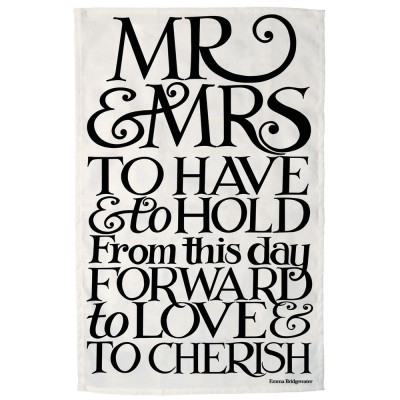 New Emma Bridgewater Black Toast Mr & Mrs Tea Towel