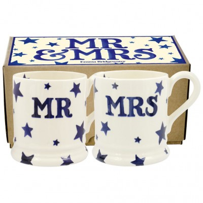 New Emma Bridgewater Starry Skies Mr & Mrs 0.5pt Mugs