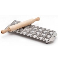 Eppicotispai 24-Hole Square Ravioli Maker with Rolling Pin (2 Sizes)