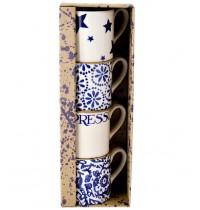 Emma Bridgewater Blue Toast Espresso Mugs (Set of 4)