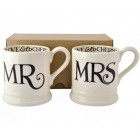 Emma Bridgewater Black Toast Mr and Mrs Set of 2 Mugs (boxed)